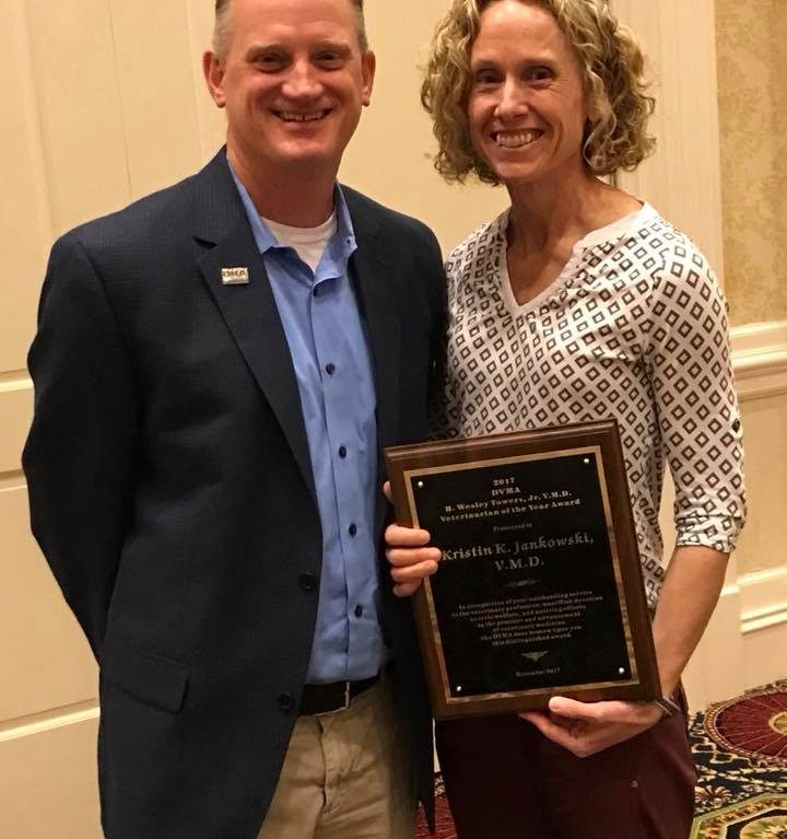 Dr. Kristin Jankowski was honored with the Veterinarian of the Year Award