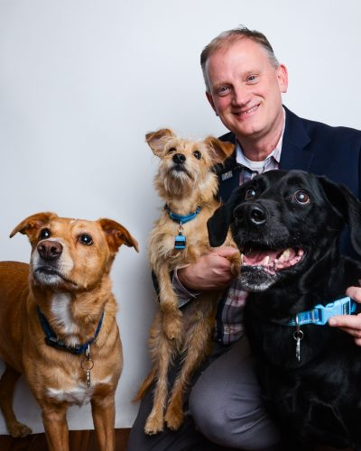 Patrick with Casey, Bixby and Barkley