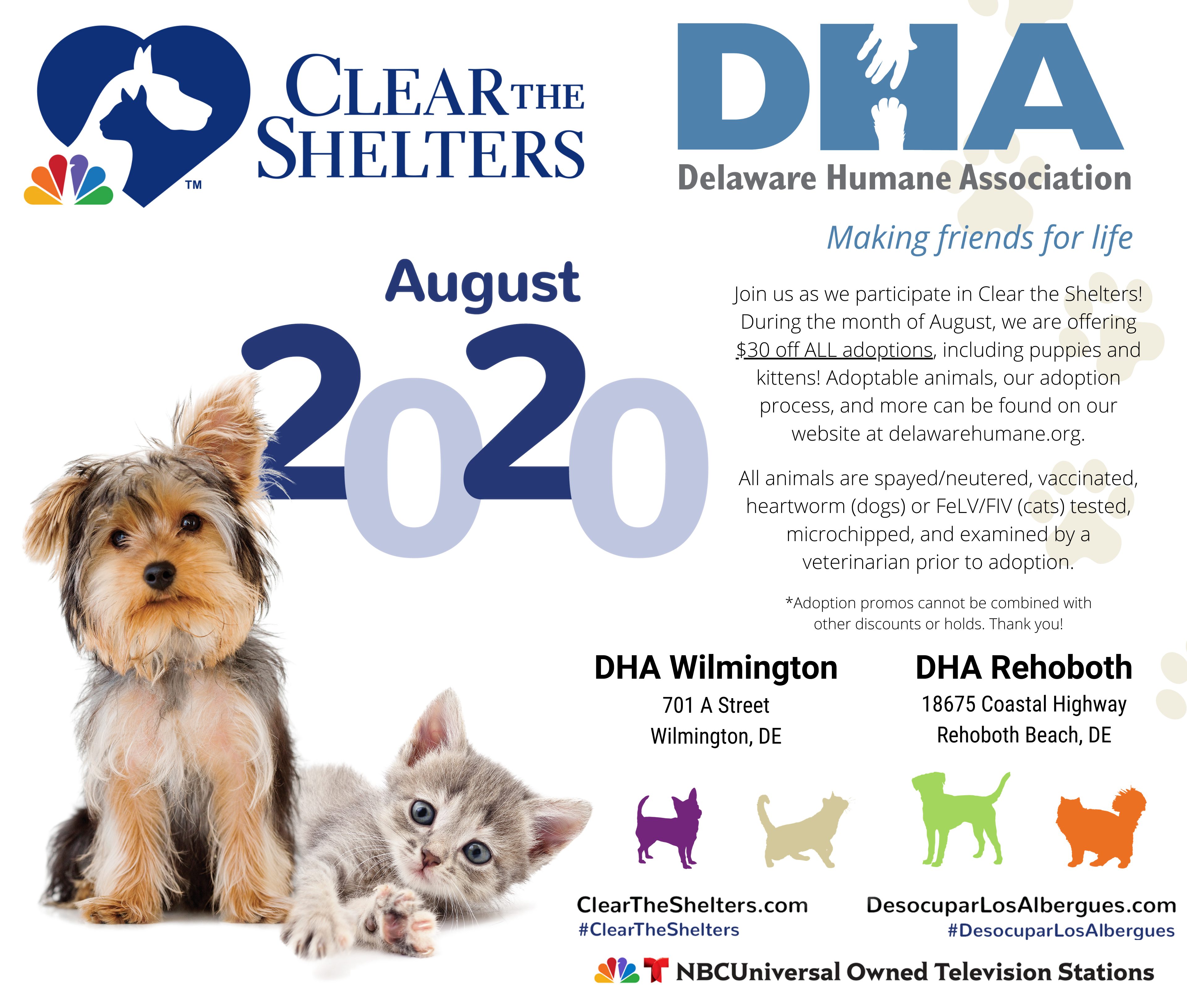 Clear The Shelters 2020 Delaware Humane Association